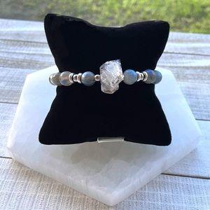 Genuine herkimer diamond & labradorite bracelet